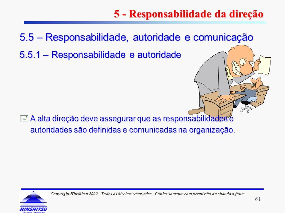 61 Copyright Hinshitsu 2002 - Todos os direitos reservados - Cópias somente com permissão ou citando a fonte. 5.5 – Responsabilidade, autoridade e com