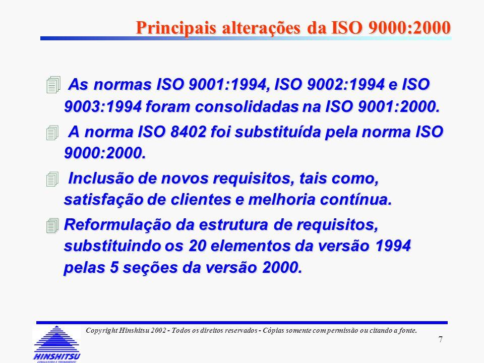 7 Copyright Hinshitsu 2002 - Todos os direitos reservados - Cópias somente com permissão ou citando a fonte. Principais alterações da ISO 9000:2000 As