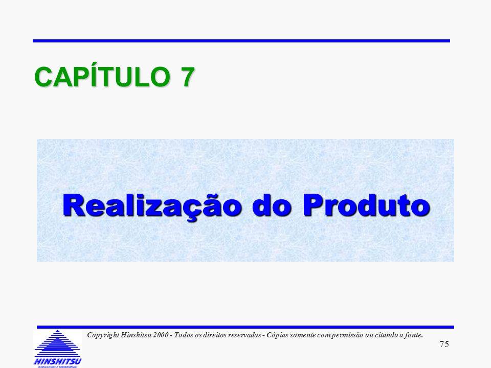 Realização do Produto CAPÍTULO 7 75 Copyright Hinshitsu 2000 - Todos os direitos reservados - Cópias somente com permissão ou citando a fonte.