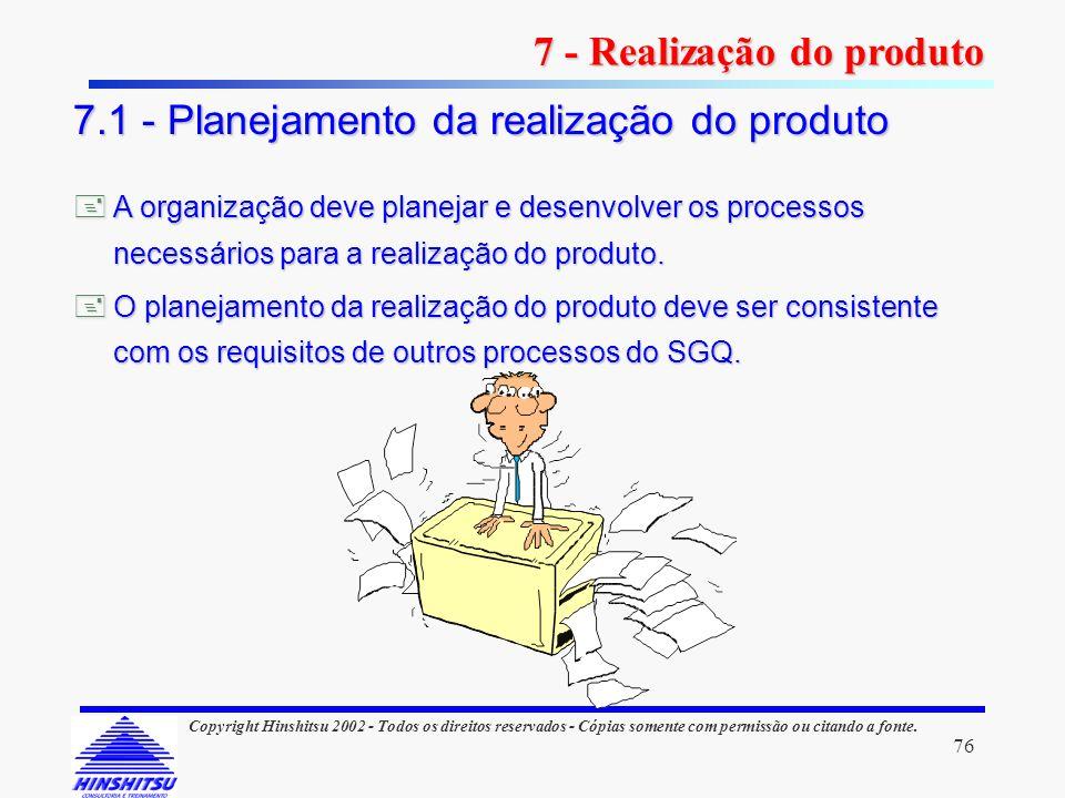 76 Copyright Hinshitsu 2002 - Todos os direitos reservados - Cópias somente com permissão ou citando a fonte. A organização deve planejar e desenvolve