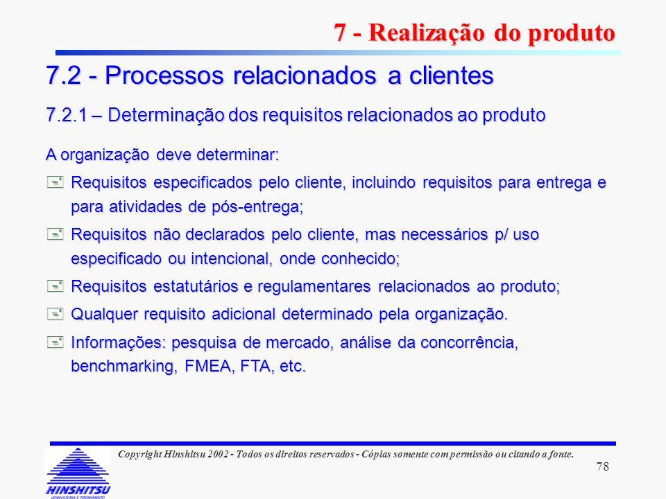 78 Copyright Hinshitsu 2002 - Todos os direitos reservados - Cópias somente com permissão ou citando a fonte. A organização deve determinar: Requisito