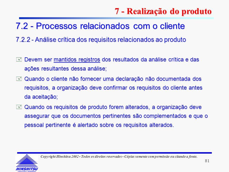81 Copyright Hinshitsu 2002 - Todos os direitos reservados - Cópias somente com permissão ou citando a fonte. Devem ser mantidos registros dos resulta