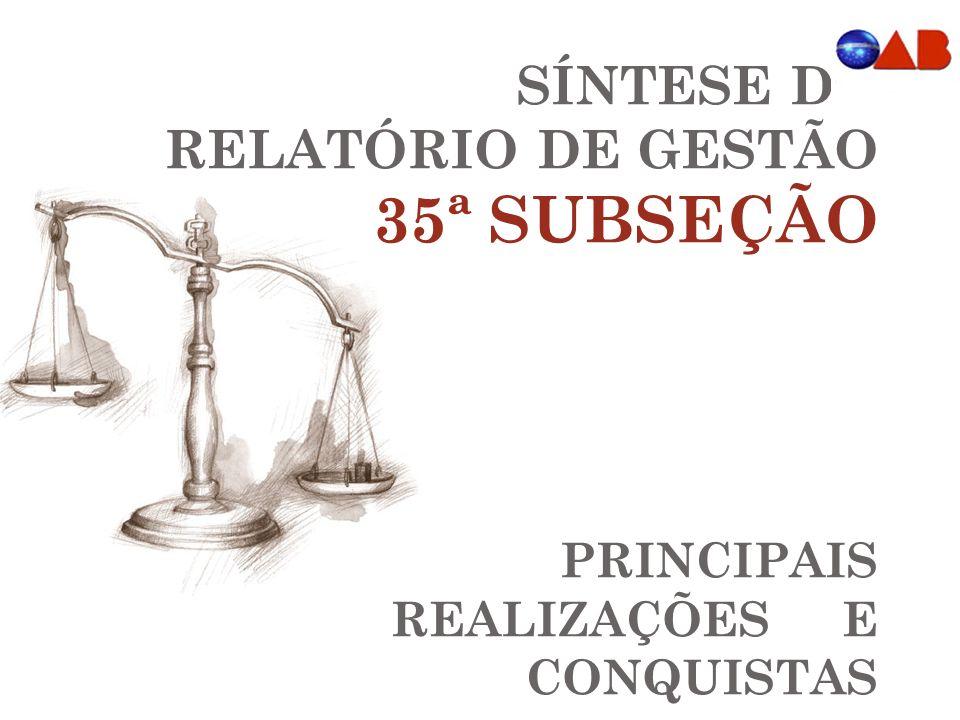 SÍNTESE DO RELATÓRIO DE GESTÃO 35ª SUBSEÇÃO PRINCIPAIS REALIZAÇÕES E CONQUISTAS