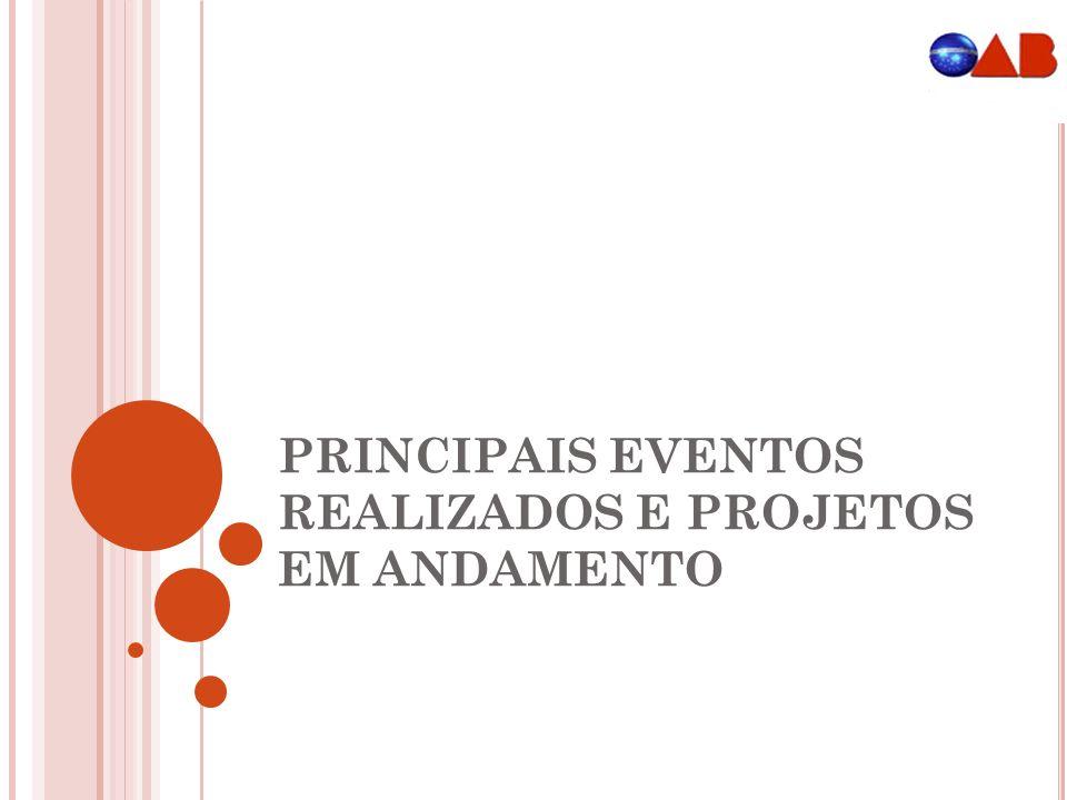 PRINCIPAIS EVENTOS REALIZADOS E PROJETOS EM ANDAMENTO
