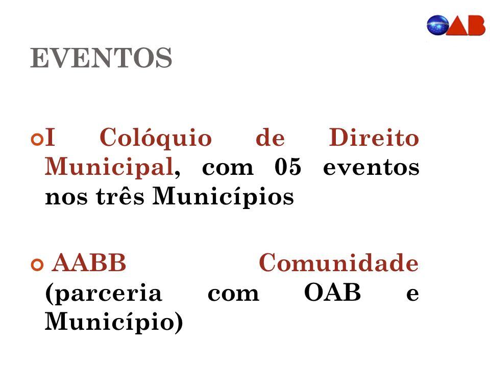 EVENTOS I Colóquio de Direito Municipal, com 05 eventos nos três Municípios AABB Comunidade (parceria com OAB e Município)
