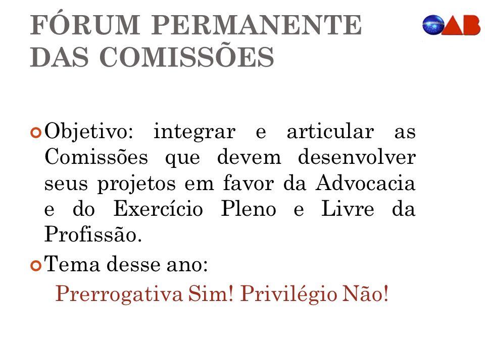 FÓRUM PERMANENTE DAS COMISSÕES Objetivo: integrar e articular as Comissões que devem desenvolver seus projetos em favor da Advocacia e do Exercício Pl