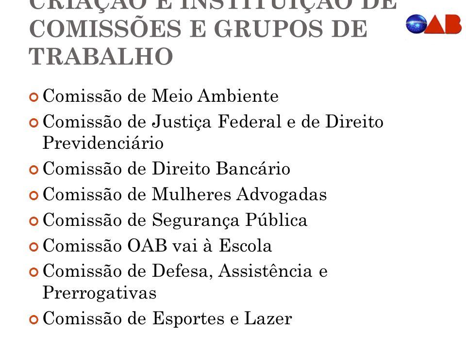 CRIAÇÃO E INSTITUIÇÃO DE COMISSÕES E GRUPOS DE TRABALHO Comissão de Meio Ambiente Comissão de Justiça Federal e de Direito Previdenciário Comissão de