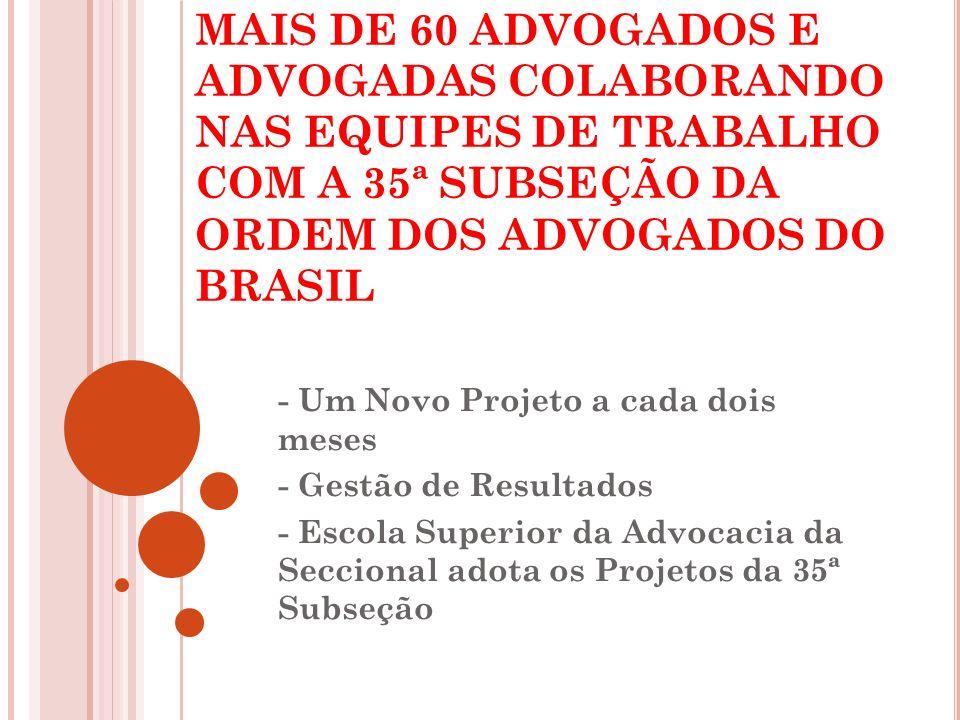 MAIS DE 60 ADVOGADOS E ADVOGADAS COLABORANDO NAS EQUIPES DE TRABALHO COM A 35ª SUBSEÇÃO DA ORDEM DOS ADVOGADOS DO BRASIL - Um Novo Projeto a cada dois