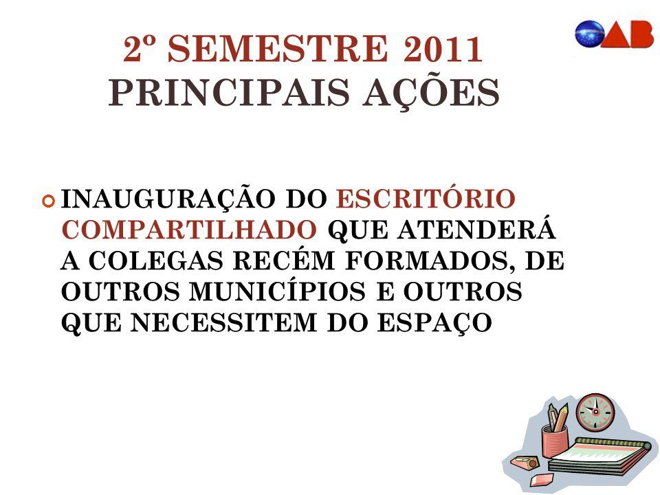 2º SEMESTRE 2011 PRINCIPAIS AÇÕES INAUGURAÇÃO DO ESCRITÓRIO COMPARTILHADO QUE ATENDERÁ A COLEGAS RECÉM FORMADOS, DE OUTROS MUNICÍPIOS E OUTROS QUE NEC