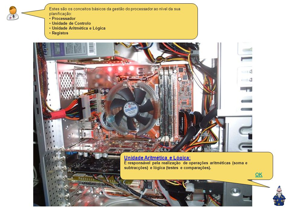Estes são os conceitos básicos da gestão do processador ao nível da sua planificação: Processador Unidade de Controlo Unidade Aritmética e Lógica Registos Unidade de Controlo: É responsável por gerir as actividades de todos os comportamentos do computador, com a gravação de todos em discos ou a procura de instruções na memória.