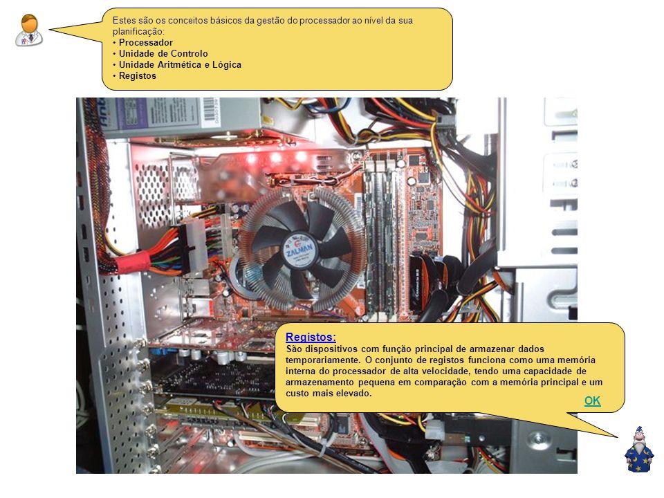 Estes são os conceitos básicos da gestão do processador ao nível da sua planificação: Processador Unidade de Controlo Unidade Aritmética e Lógica Registos Unidade Aritmética e Lógica: É responsável pela realização de operações aritméticas (soma e subtracções) e lógica (testes e comparações).