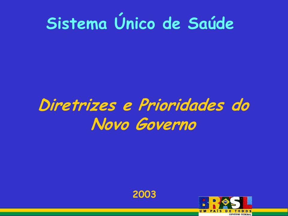 Sistema Único de Saúde Diretrizes e Prioridades do Novo Governo 2003