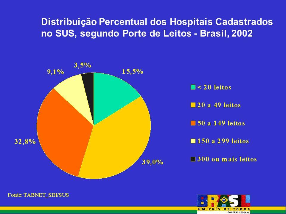 Distribuição Percentual dos Hospitais Cadastrados no SUS, segundo Porte de Leitos - Brasil, 2002 Fonte: TABNET_SIH/SUS