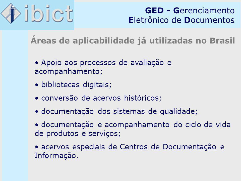 GED - Gerenciamento Eletrônico de Documentos Áreas de aplicabilidade já utilizadas no Brasil Apoio aos processos de avaliação e acompanhamento; biblio