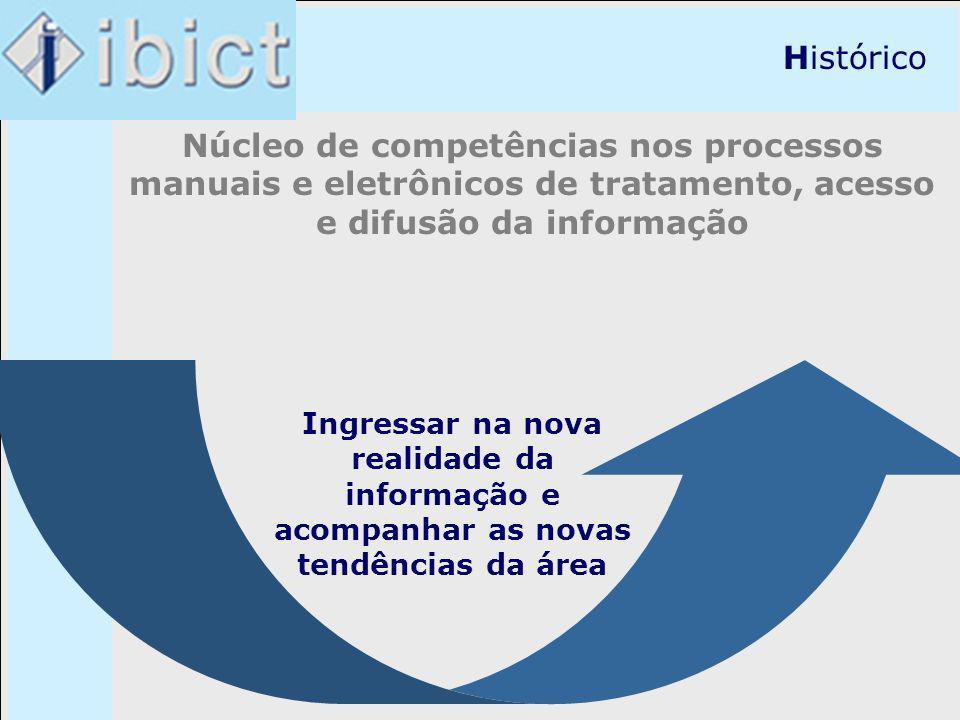Histórico Núcleo de competências nos processos manuais e eletrônicos de tratamento, acesso e difusão da informação Ingressar na nova realidade da info
