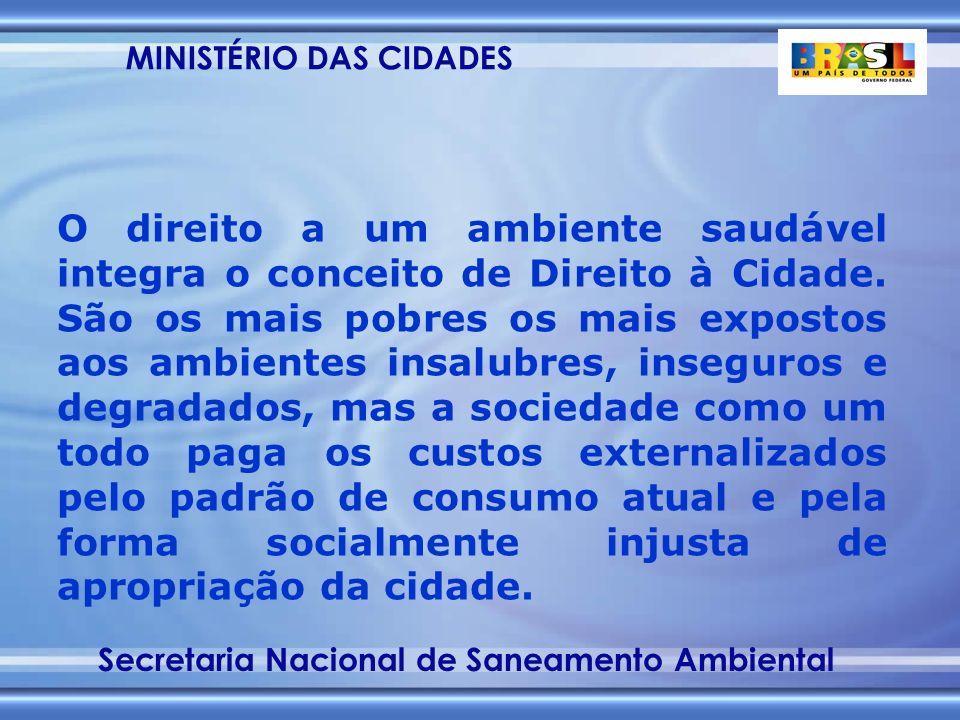 MINISTÉRIO DAS CIDADES Secretaria Nacional de Saneamento Ambiental O direito a um ambiente saudável integra o conceito de Direito à Cidade.