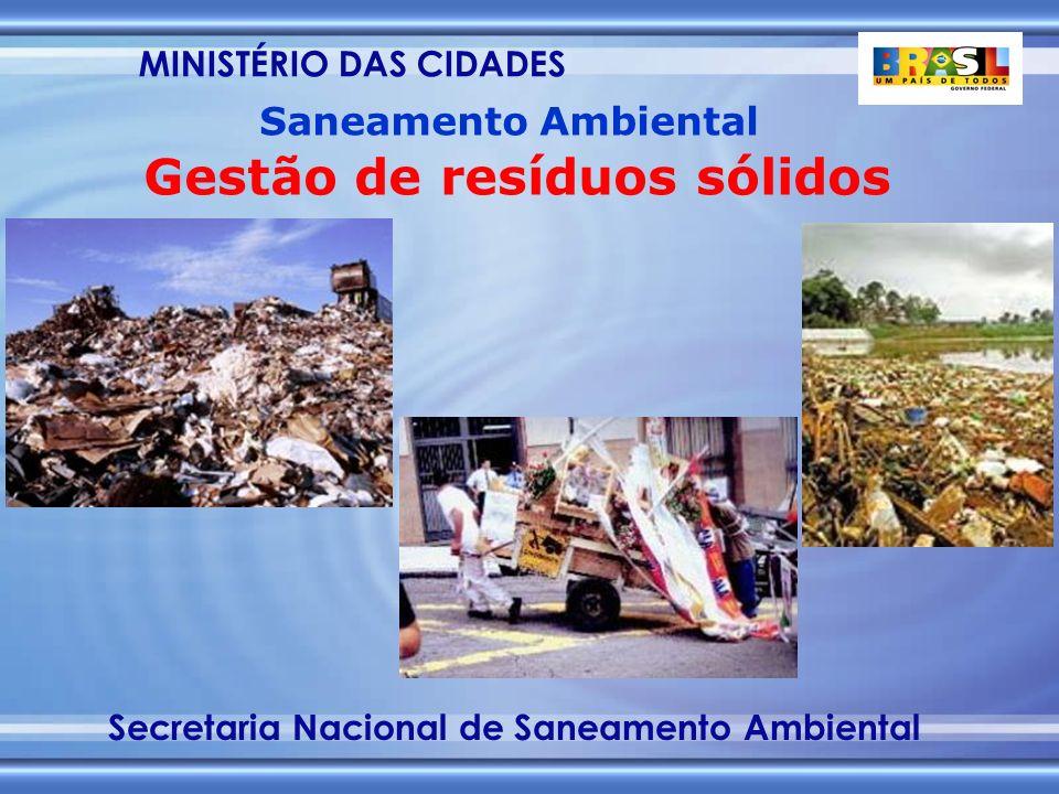 MINISTÉRIO DAS CIDADES Secretaria Nacional de Saneamento Ambiental Saneamento Ambiental Gestão de resíduos sólidos