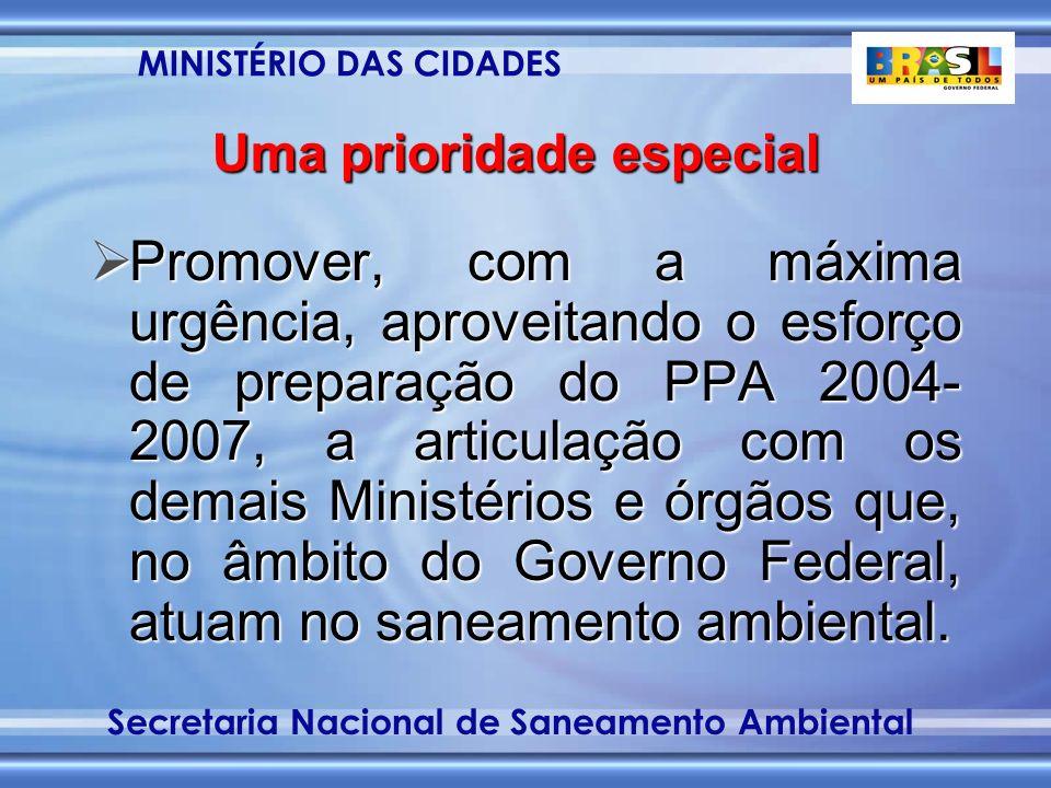 MINISTÉRIO DAS CIDADES Secretaria Nacional de Saneamento Ambiental Uma prioridade especial Promover, com a máxima urgência, aproveitando o esforço de preparação do PPA 2004- 2007, a articulação com os demais Ministérios e órgãos que, no âmbito do Governo Federal, atuam no saneamento ambiental.