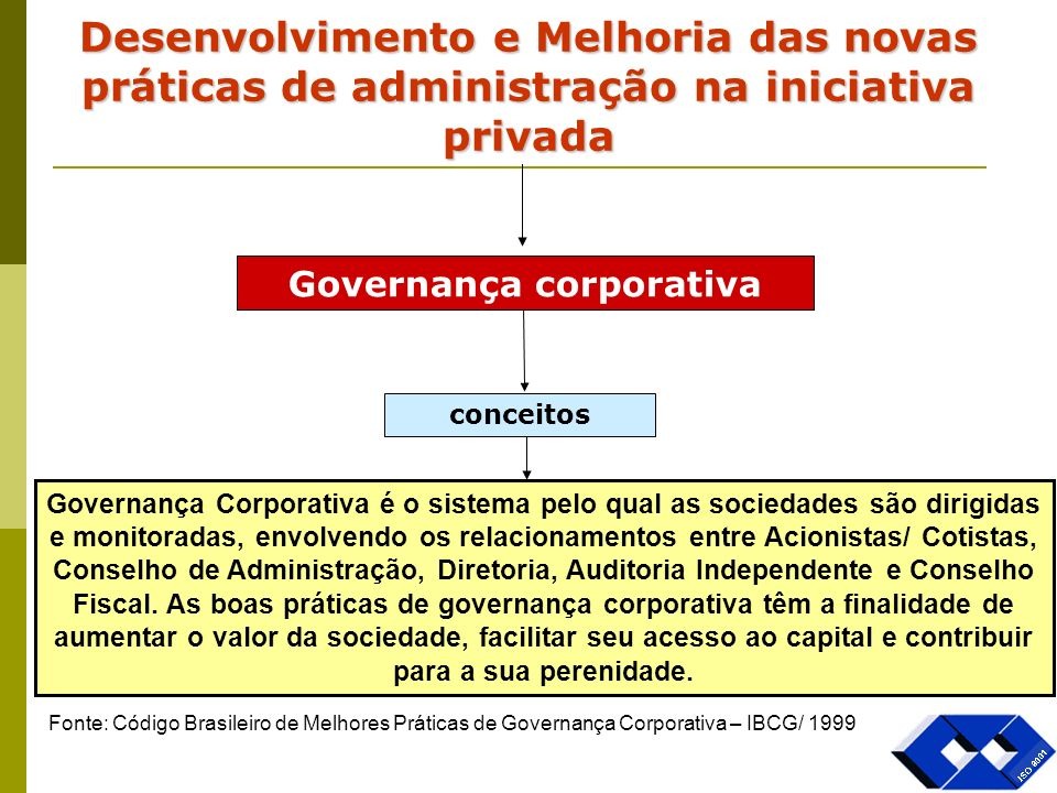 Governança corporativa conceitos Governança Corporativa é o sistema pelo qual as sociedades são dirigidas e monitoradas, envolvendo os relacionamentos