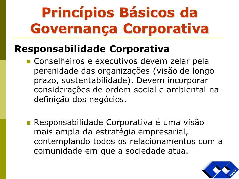 Princípios Básicos da Governança Corporativa Responsabilidade Corporativa Conselheiros e executivos devem zelar pela perenidade das organizações (visã