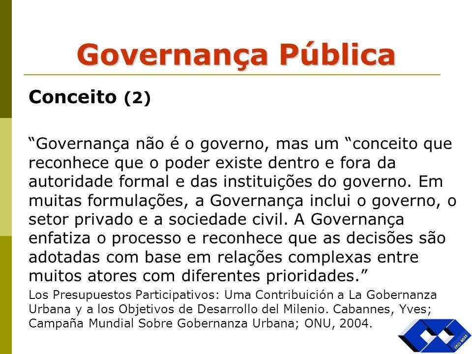 Governança Pública Conceito (2) Governança não é o governo, mas um conceito que reconhece que o poder existe dentro e fora da autoridade formal e das