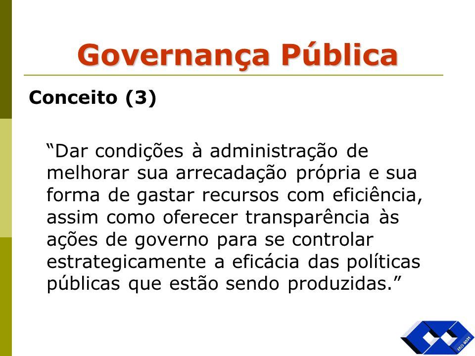Governança Pública Conceito (3) Dar condições à administração de melhorar sua arrecadação própria e sua forma de gastar recursos com eficiência, assim