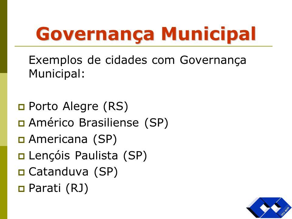 Governança Municipal Exemplos de cidades com Governança Municipal: Porto Alegre (RS) Américo Brasiliense (SP) Americana (SP) Lençóis Paulista (SP) Cat