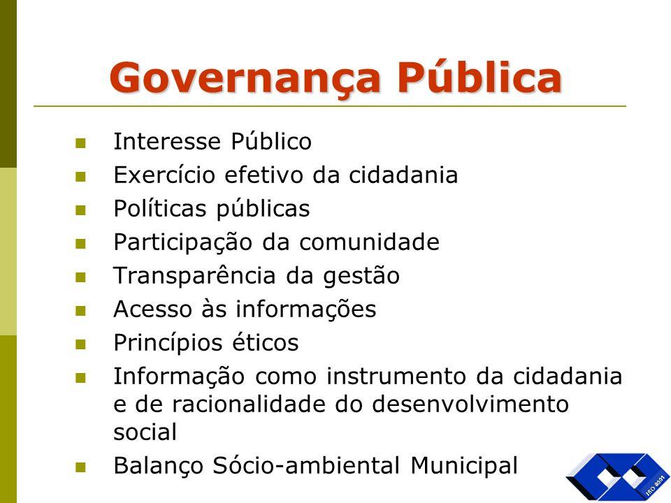 Governança Pública Interesse Público Exercício efetivo da cidadania Políticas públicas Participação da comunidade Transparência da gestão Acesso às in