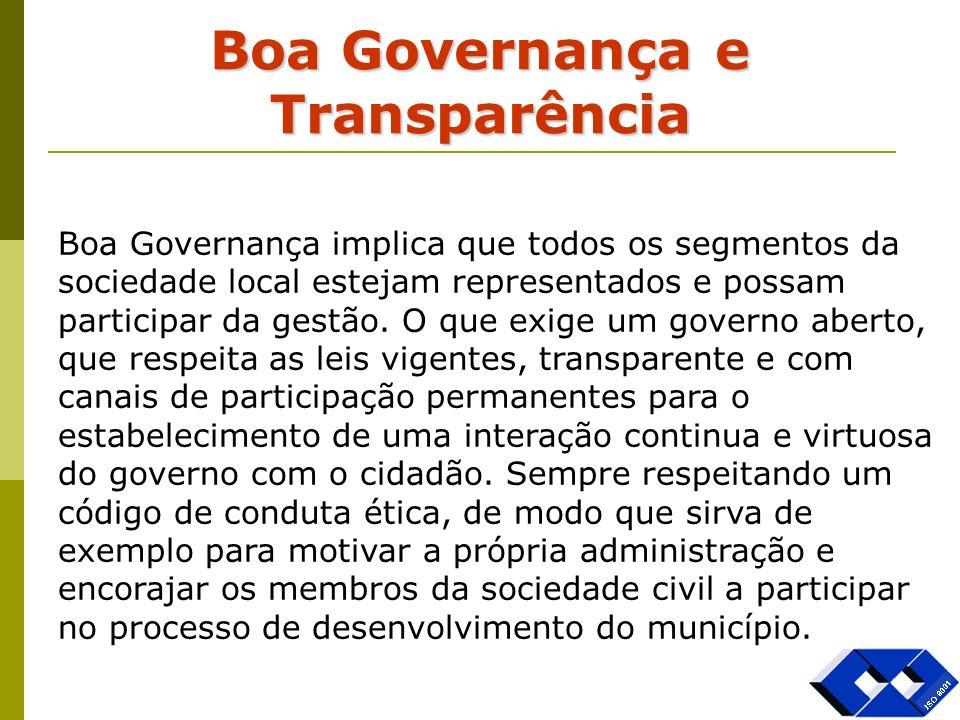 Boa Governança e Transparência Boa Governança implica que todos os segmentos da sociedade local estejam representados e possam participar da gestão. O