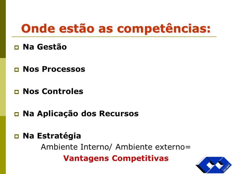 Onde estão as competências: Na Gestão Nos Processos Nos Controles Na Aplicação dos Recursos Na Estratégia Ambiente Interno/ Ambiente externo= Vantagen