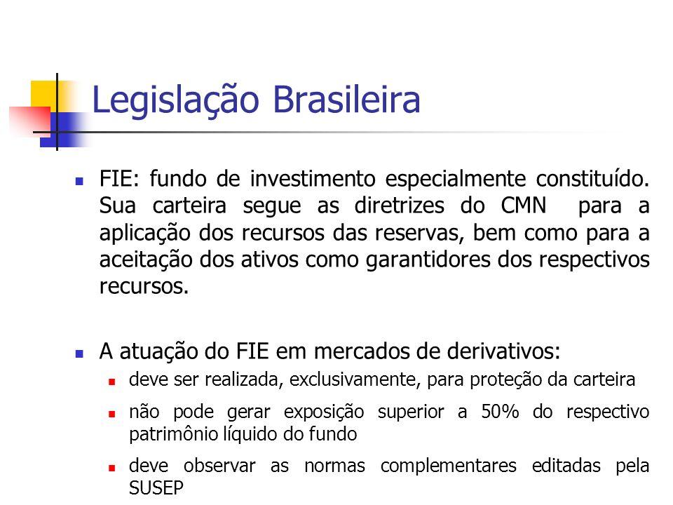 Legislação Brasileira FIE: fundo de investimento especialmente constituído. Sua carteira segue as diretrizes do CMN para a aplicação dos recursos das