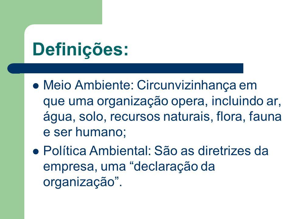 Definições: Meio Ambiente: Circunvizinhança em que uma organização opera, incluindo ar, água, solo, recursos naturais, flora, fauna e ser humano; Polí