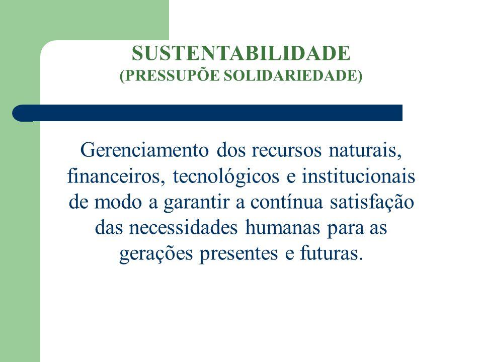 SUSTENTABILIDADE (PRESSUPÕE SOLIDARIEDADE) Gerenciamento dos recursos naturais, financeiros, tecnológicos e institucionais de modo a garantir a contín