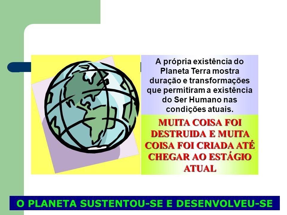 A própria existência do Planeta Terra mostra duração e transformações que permitiram a existência do Ser Humano nas condições atuais. MUITA COISA FOI