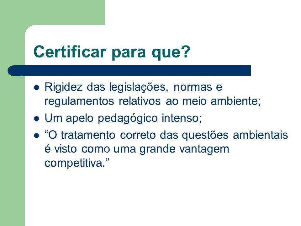 Certificar para que? Rigidez das legislações, normas e regulamentos relativos ao meio ambiente; Um apelo pedagógico intenso; O tratamento correto das