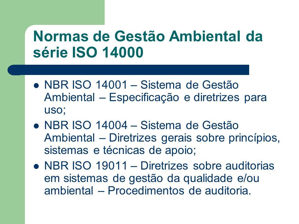 Normas de Gestão Ambiental da série ISO 14000 NBR ISO 14001 – Sistema de Gestão Ambiental – Especificação e diretrizes para uso; NBR ISO 14004 – Siste