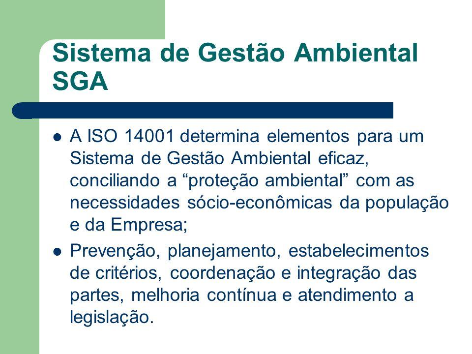 Sistema de Gestão Ambiental SGA A ISO 14001 determina elementos para um Sistema de Gestão Ambiental eficaz, conciliando a proteção ambiental com as ne