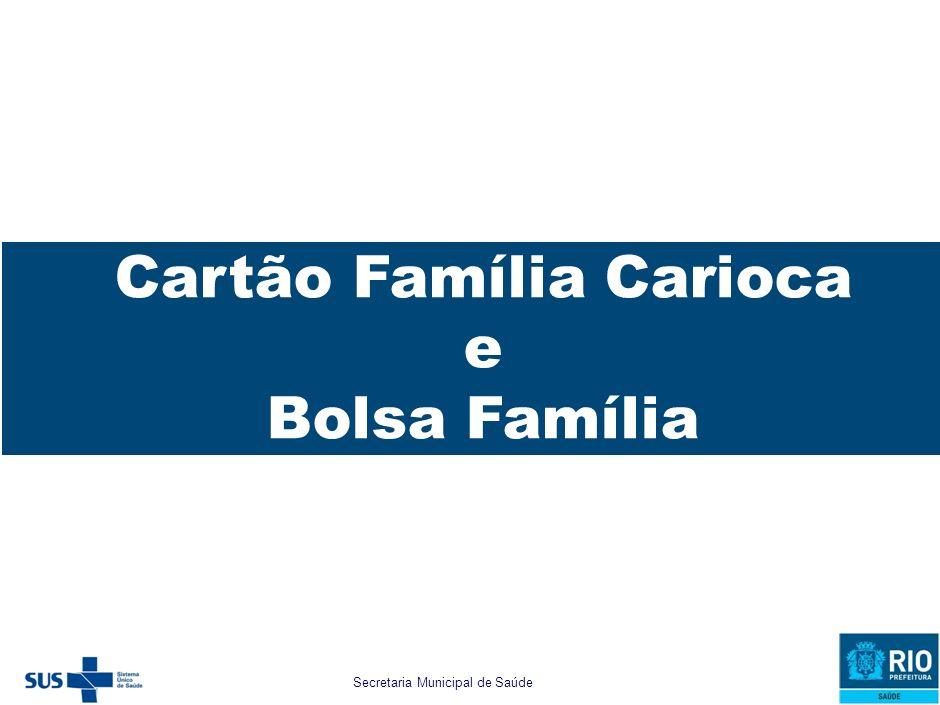 Secretaria Municipal de Saúde e Defesa Civil Caracterização do Município Bolsa Família Cartão Família Carioca e Bolsa Família