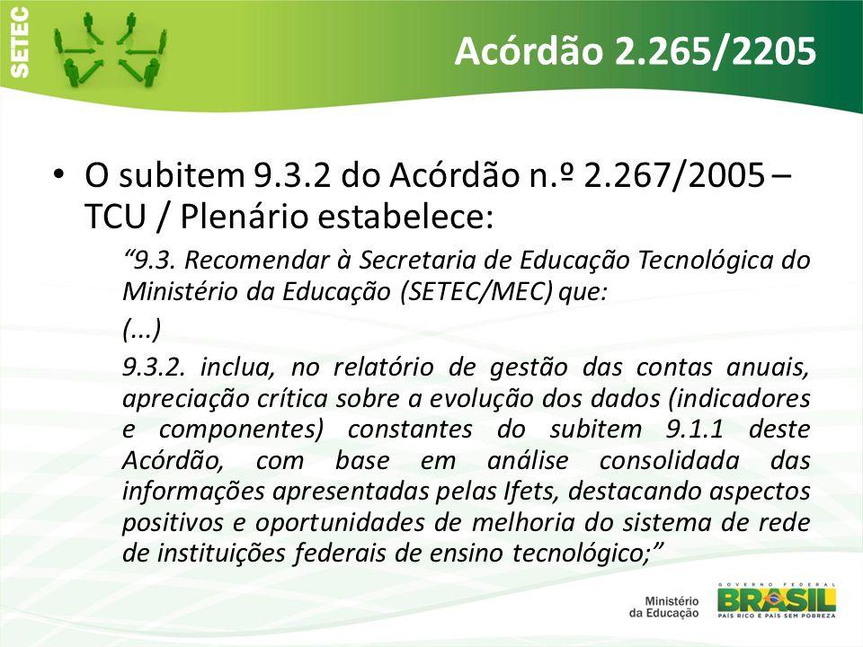 Obrigatoriedade Com a definição do conjunto de indicadores de gestão pelo Acórdão TCU 2267/2005, tornou-se obrigatória a sua geração e análise, bem como sua apresentação aos órgãos de controle, da parte dos Institutos Federais e pela SETEC, a fim de avaliar a eficiência da Educação Profissional e Tecnológica no Brasil.
