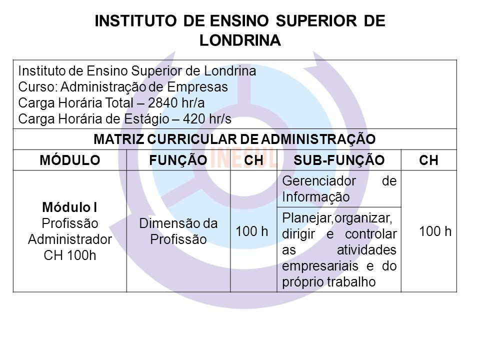 Instituto de Ensino Superior de Londrina Curso: Administração de Empresas Carga Horária Total – 2840 hr/a Carga Horária de Estágio – 420 hr/s MATRIZ C