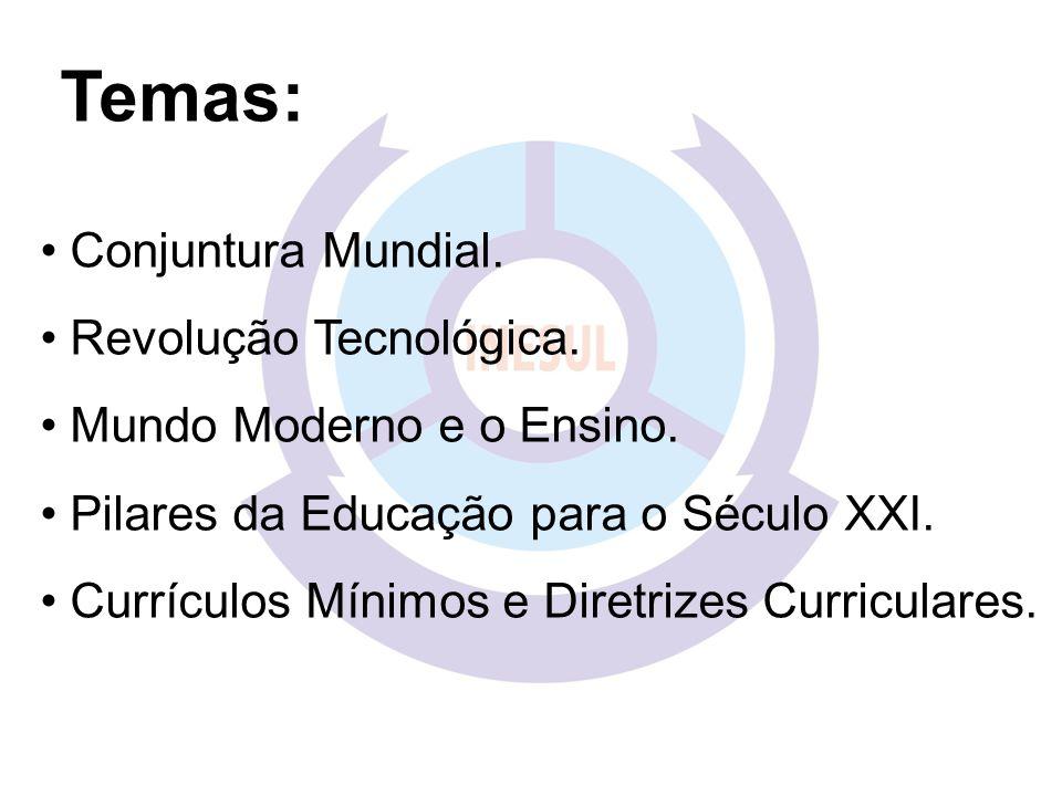Temas: Conjuntura Mundial. Revolução Tecnológica. Mundo Moderno e o Ensino. Pilares da Educação para o Século XXI. Currículos Mínimos e Diretrizes Cur