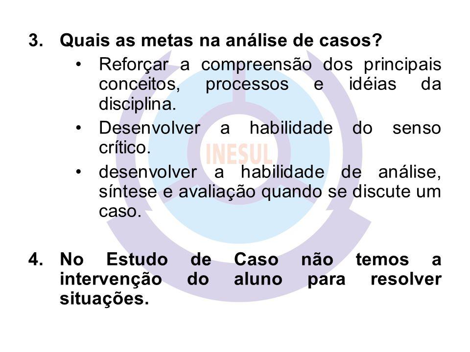 3.Quais as metas na análise de casos? Reforçar a compreensão dos principais conceitos, processos e idéias da disciplina. Desenvolver a habilidade do s