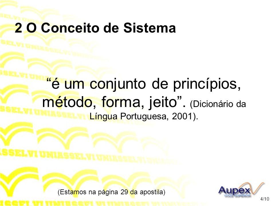 2 O Conceito de Sistema é um conjunto de princípios, método, forma, jeito. (Dicionário da Língua Portuguesa, 2001). (Estamos na página 29 da apostila)