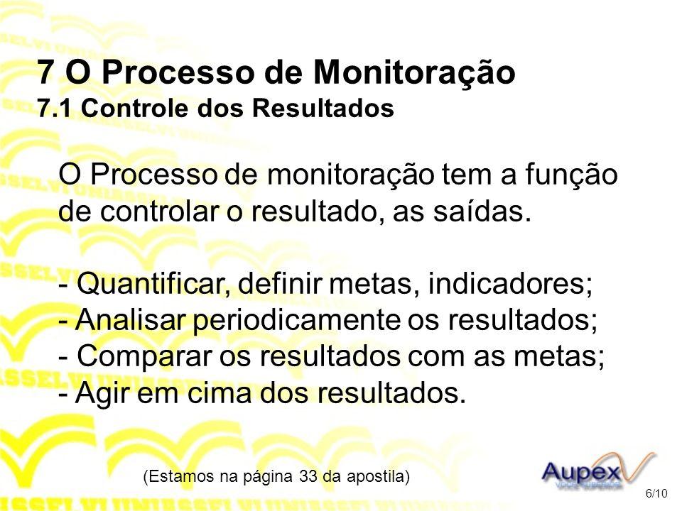 7 O Processo de Monitoração 7.1 Controle dos Resultados O Processo de monitoração tem a função de controlar o resultado, as saídas. - Quantificar, def