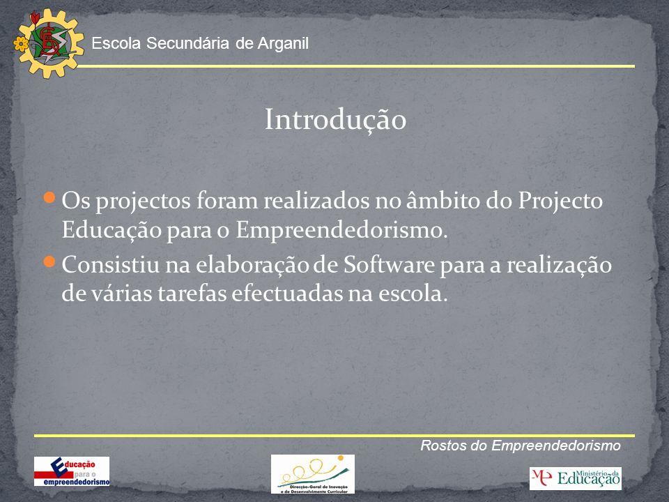 Escola Secundária de Arganil Rostos do Empreendedorismo Introdução Os projectos foram realizados no âmbito do Projecto Educação para o Empreendedorism