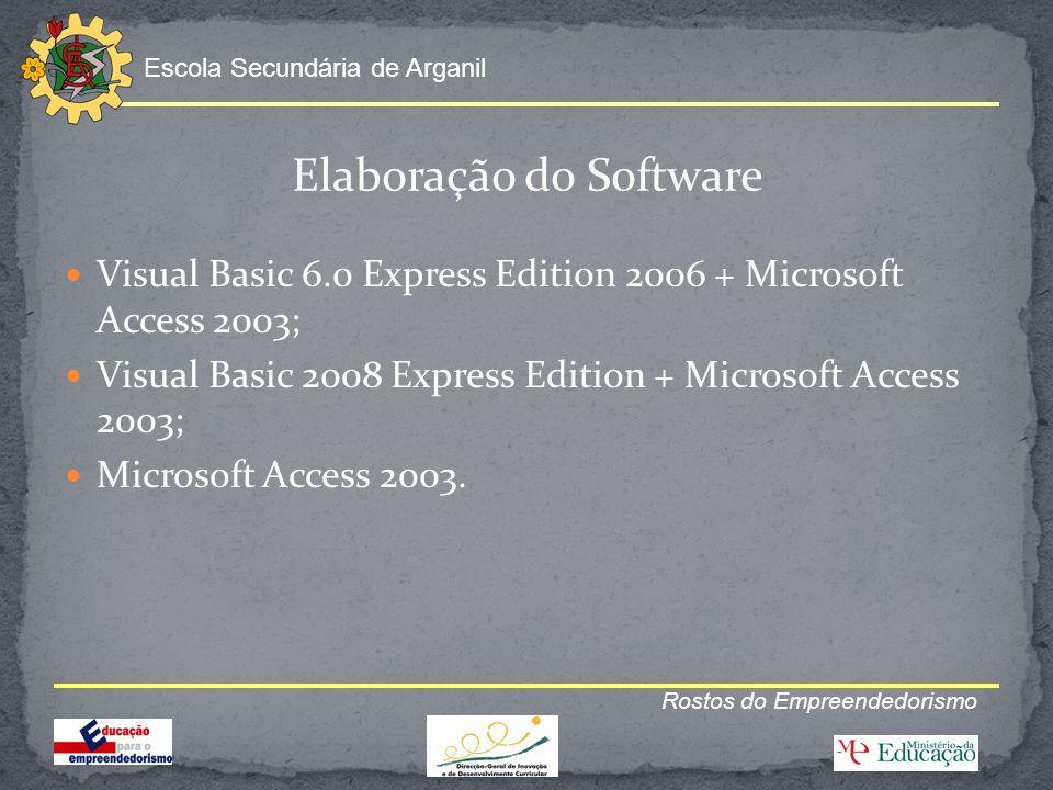 Escola Secundária de Arganil Rostos do Empreendedorismo Elaboração do Software Visual Basic 6.0 Express Edition 2006 + Microsoft Access 2003; Visual B