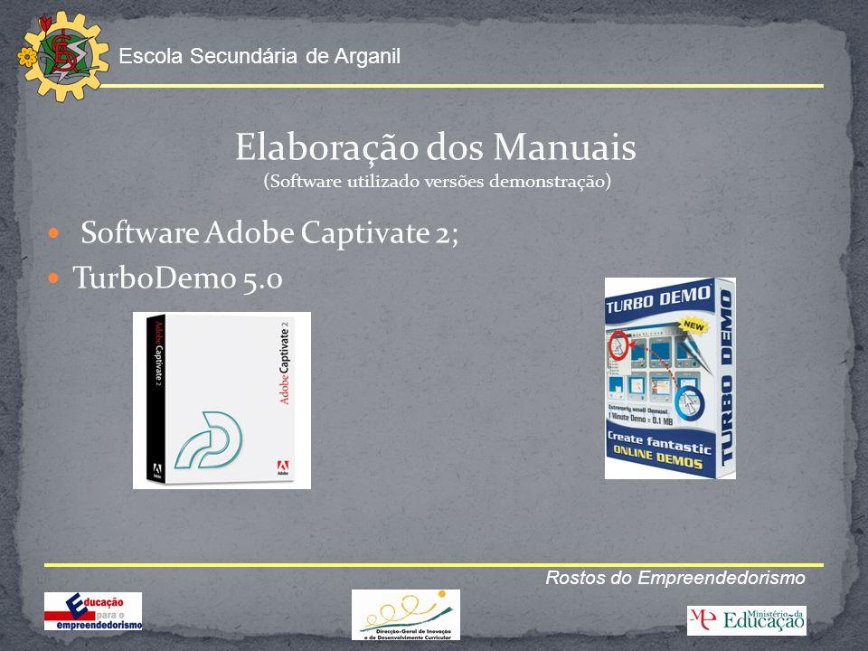 Escola Secundária de Arganil Rostos do Empreendedorismo Elaboração dos Manuais (Software utilizado versões demonstração) Software Adobe Captivate 2; T