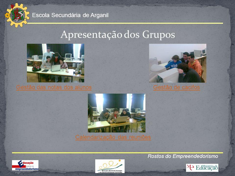 Escola Secundária de Arganil Rostos do Empreendedorismo Os Projectos Gestão das notas dos alunos e Gestão de Cacifos estão terminados.
