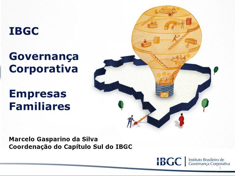 IBGC Governança Corporativa Empresas Familiares Marcelo Gasparino da Silva Coordenação do Capítulo Sul do IBGC 1