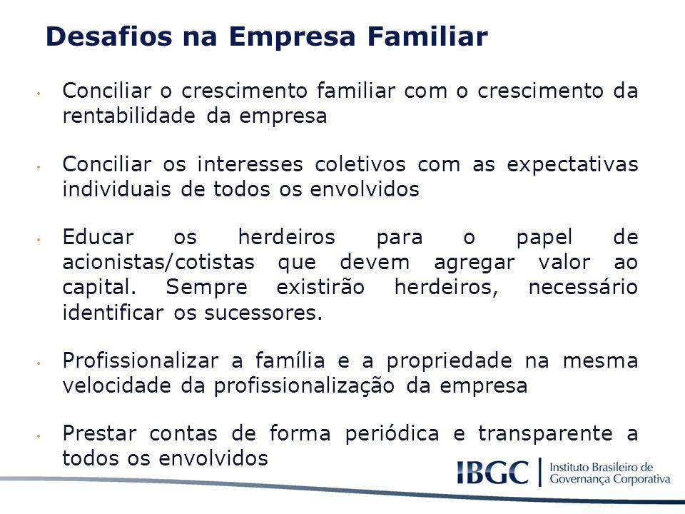 Conciliar o crescimento familiar com o crescimento da rentabilidade da empresa Conciliar os interesses coletivos com as expectativas individuais de to